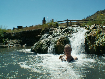 Danielle in the second thermal spring at the Boiling River in Yellowstone, WY.